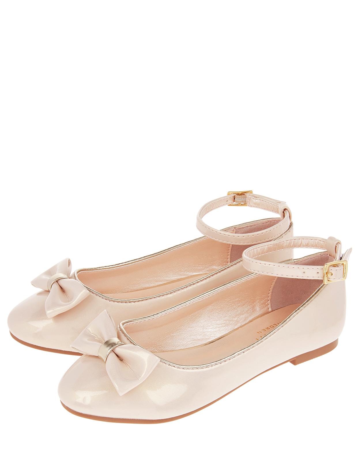 Monsoon Danielle Shimmer Patent Bow Ballet Pumps