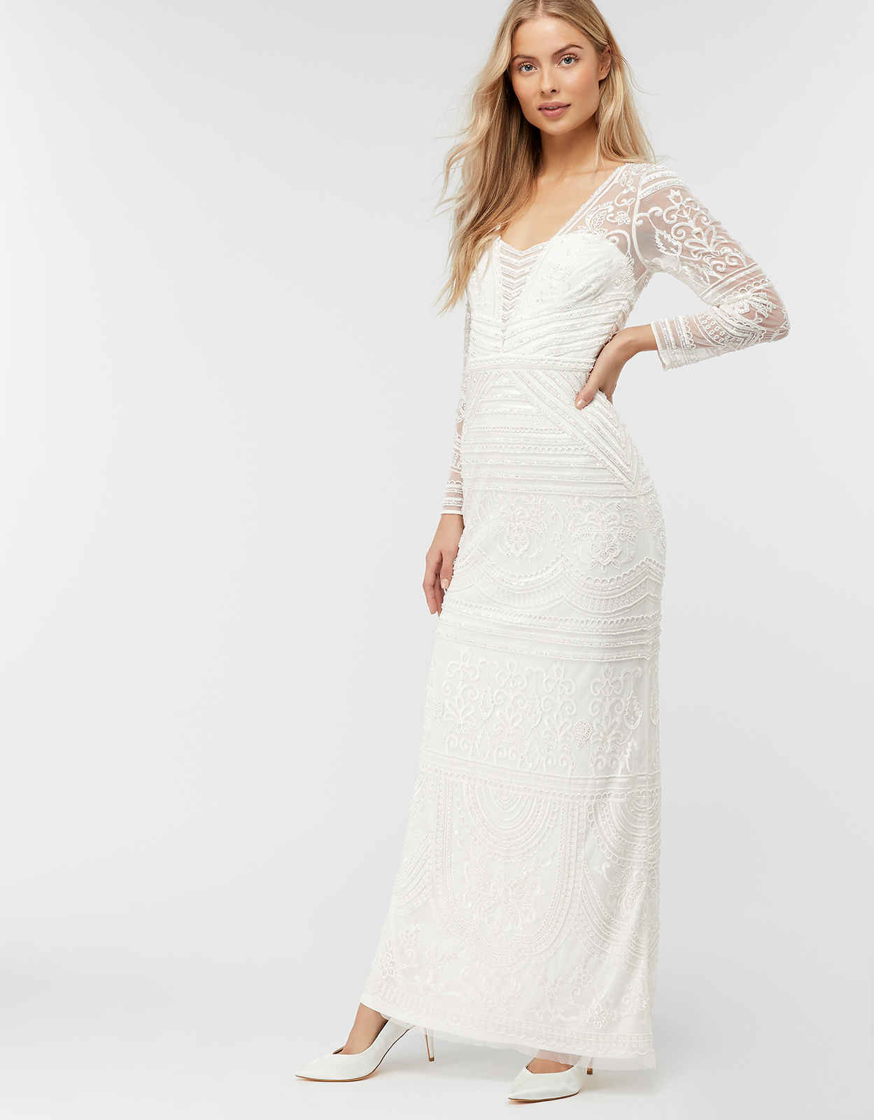 Monsoon Charlotte Geo Embellished Maxi Wedding Dress