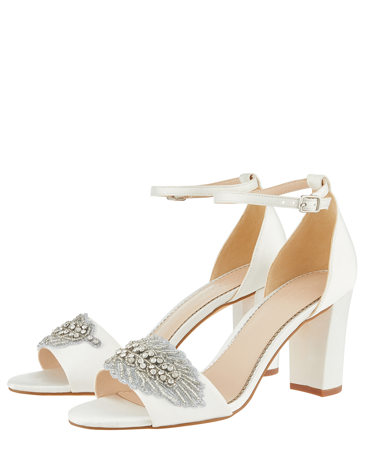 Monsoon Farin Feather Vamp Block Heel Bridal Sandals