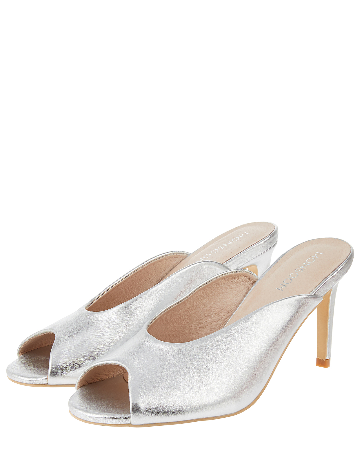 Monsoon Morella Metallic Peep Toe Mules
