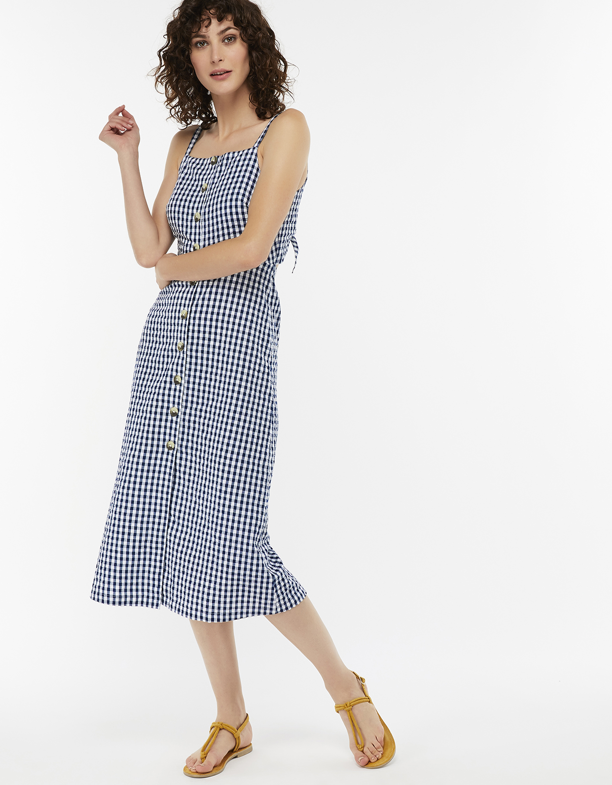 Monsoon Cleo Cotton Gingham Dress