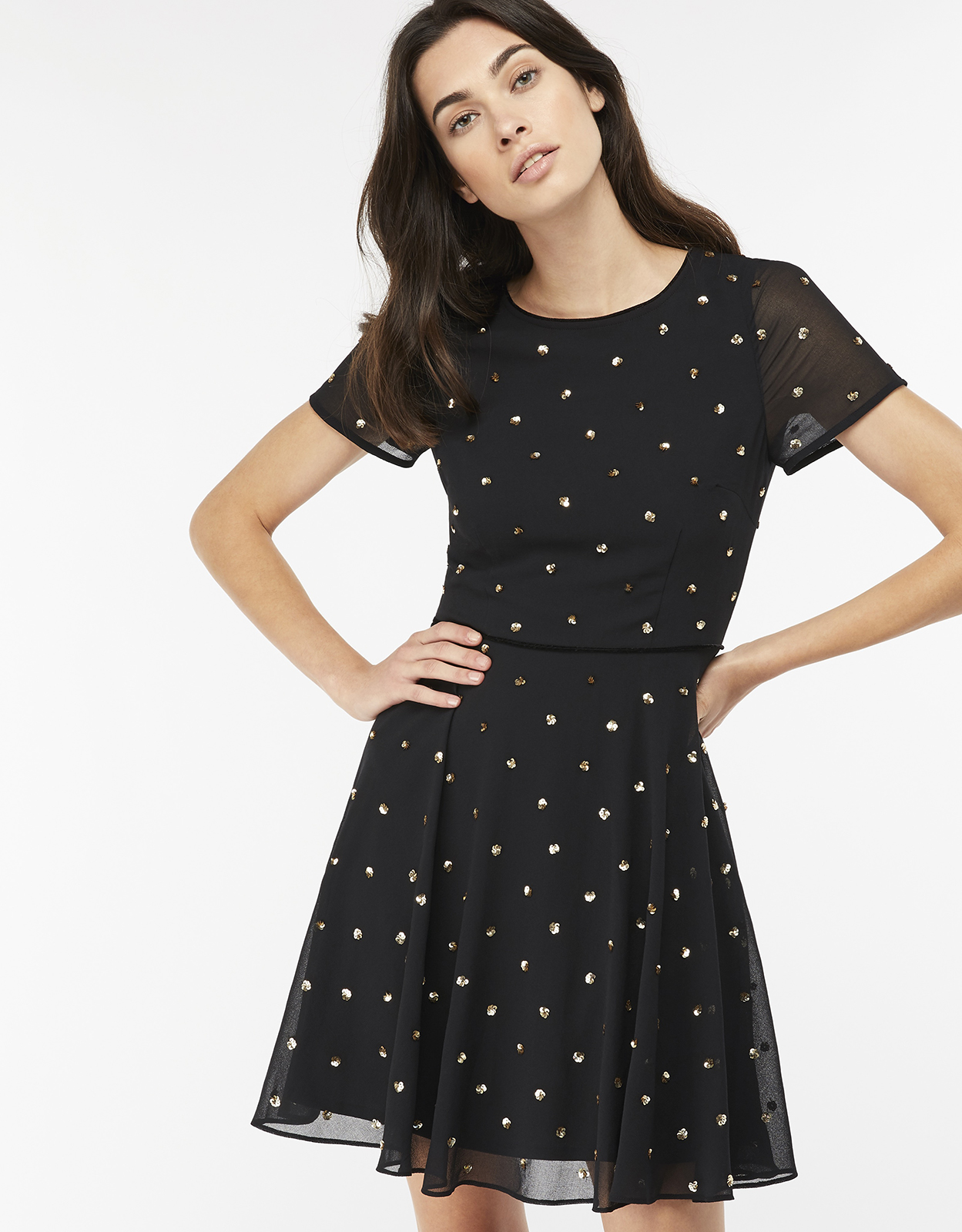 Monsoon Siya Spot Embellished Short Dress