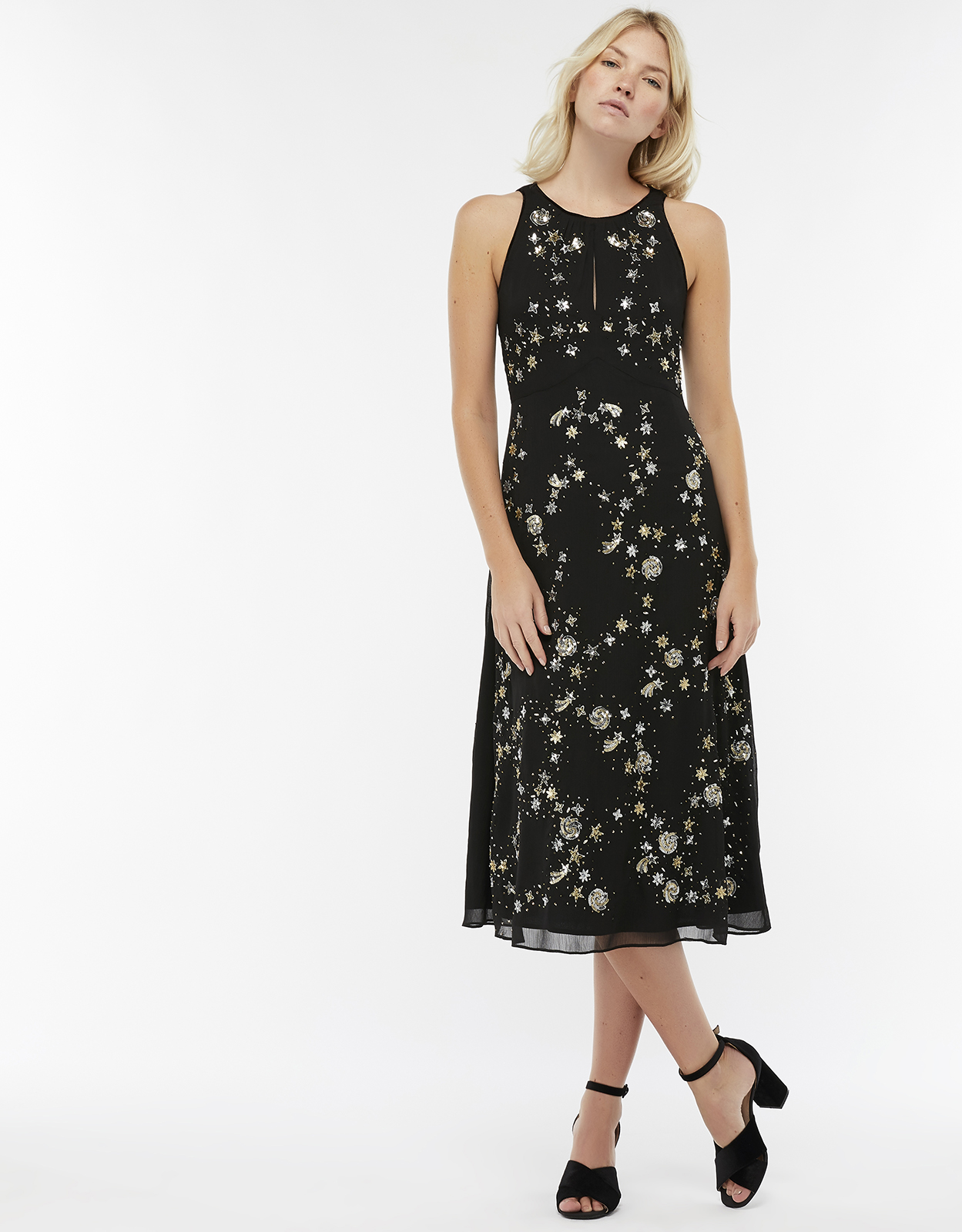 Monsoon Seline Star Embellished Midi Dress