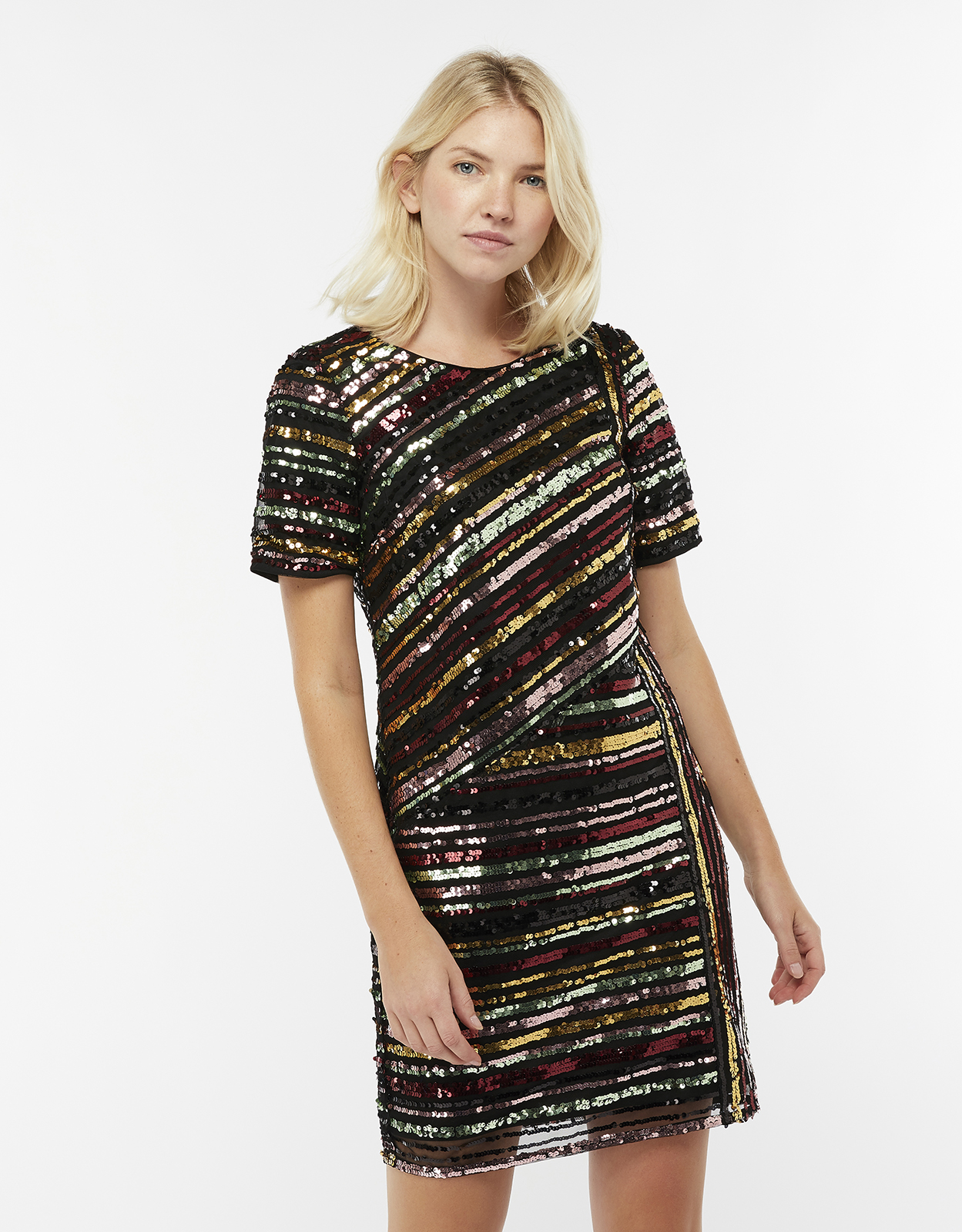 Monsoon Rainey Sequin Stripe Tunic Dress