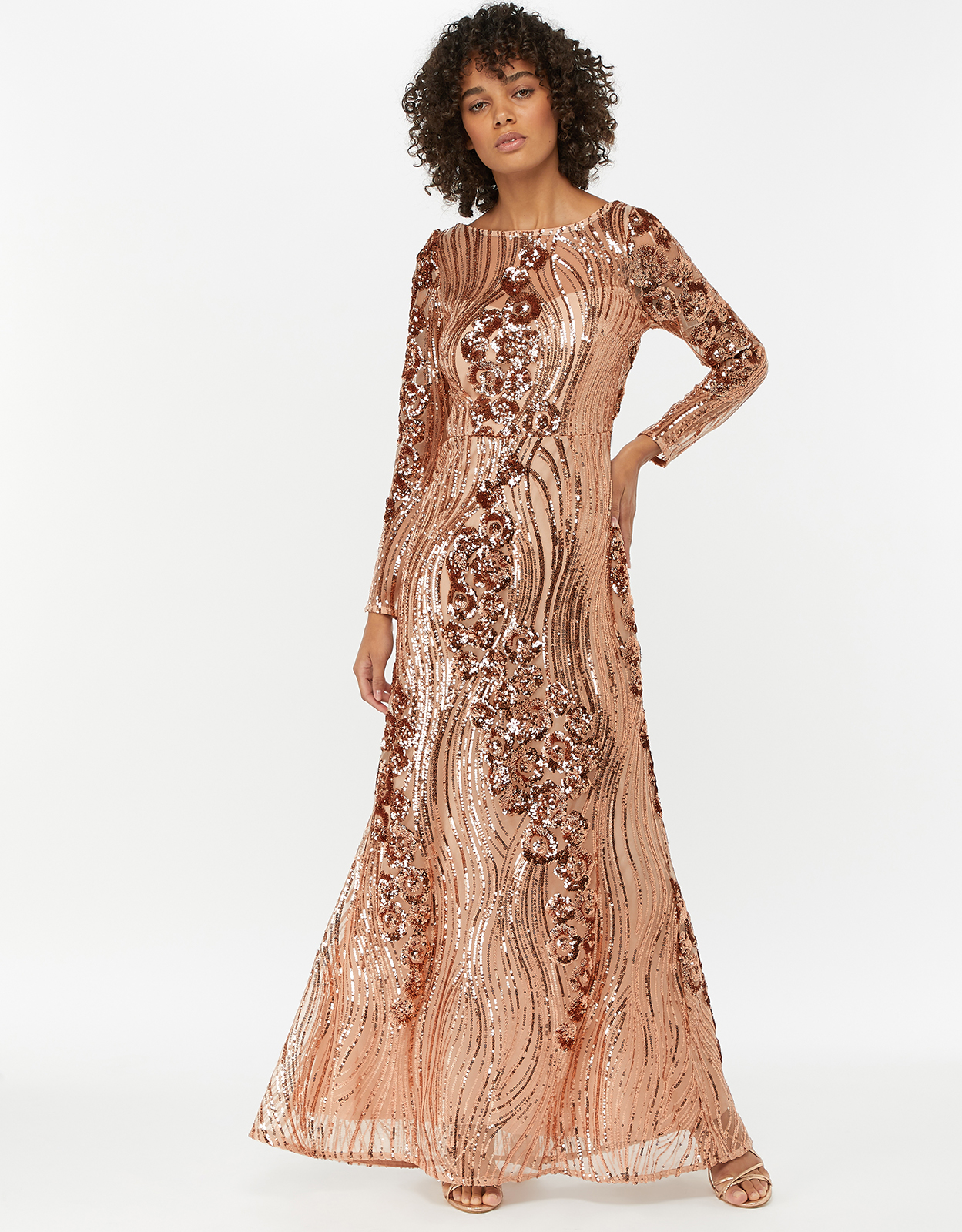Monsoon Sarina Embellished Sequin Maxi Dress