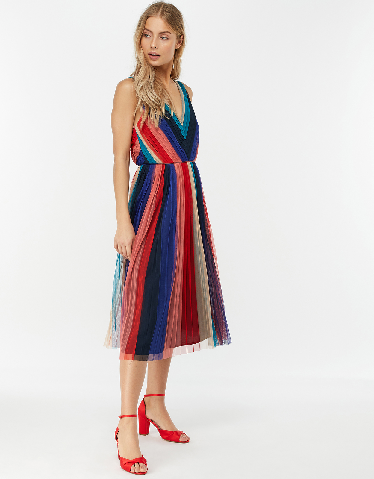 Monsoon Simone Stripe Pleated Mesh Dress