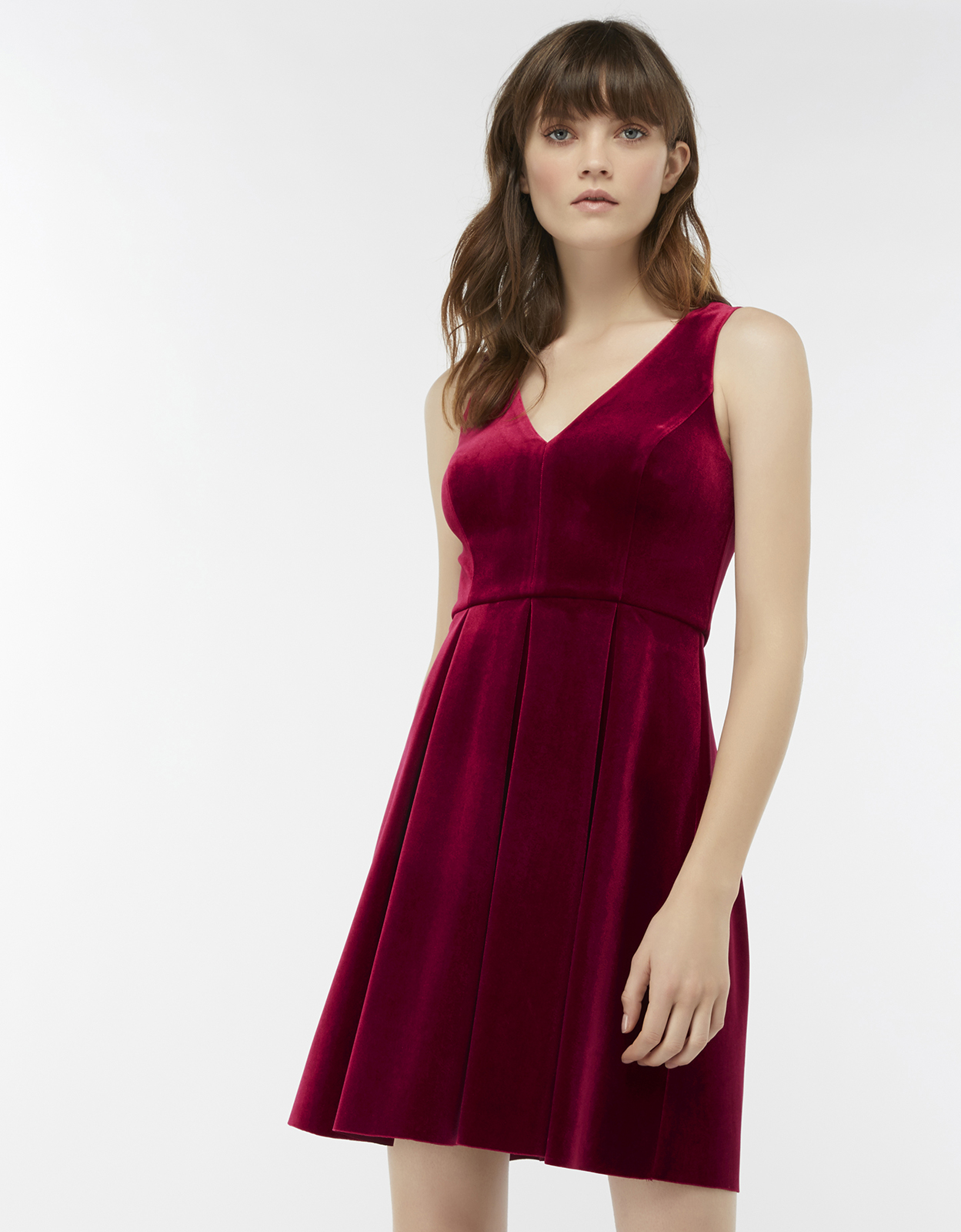 Monsoon Kimaya Velvet Fit & Flare Dress