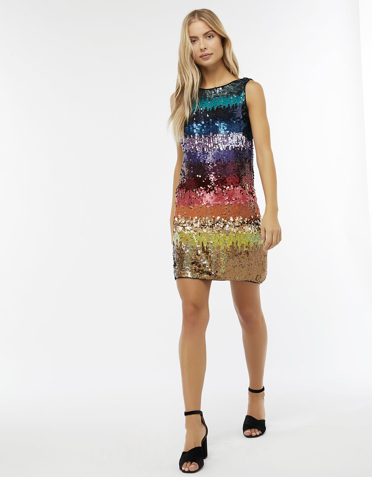 Monsoon Sonique Rainbow Sequin Tunic Dress
