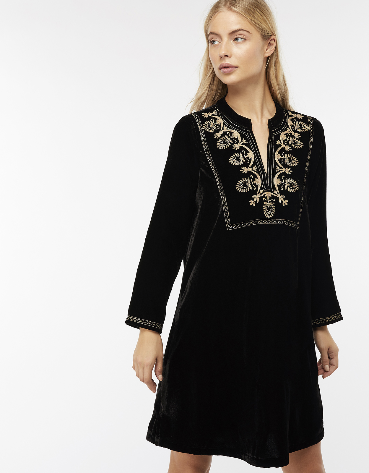 Monsoon Vesta Velvet Embroidered Tunic Dress