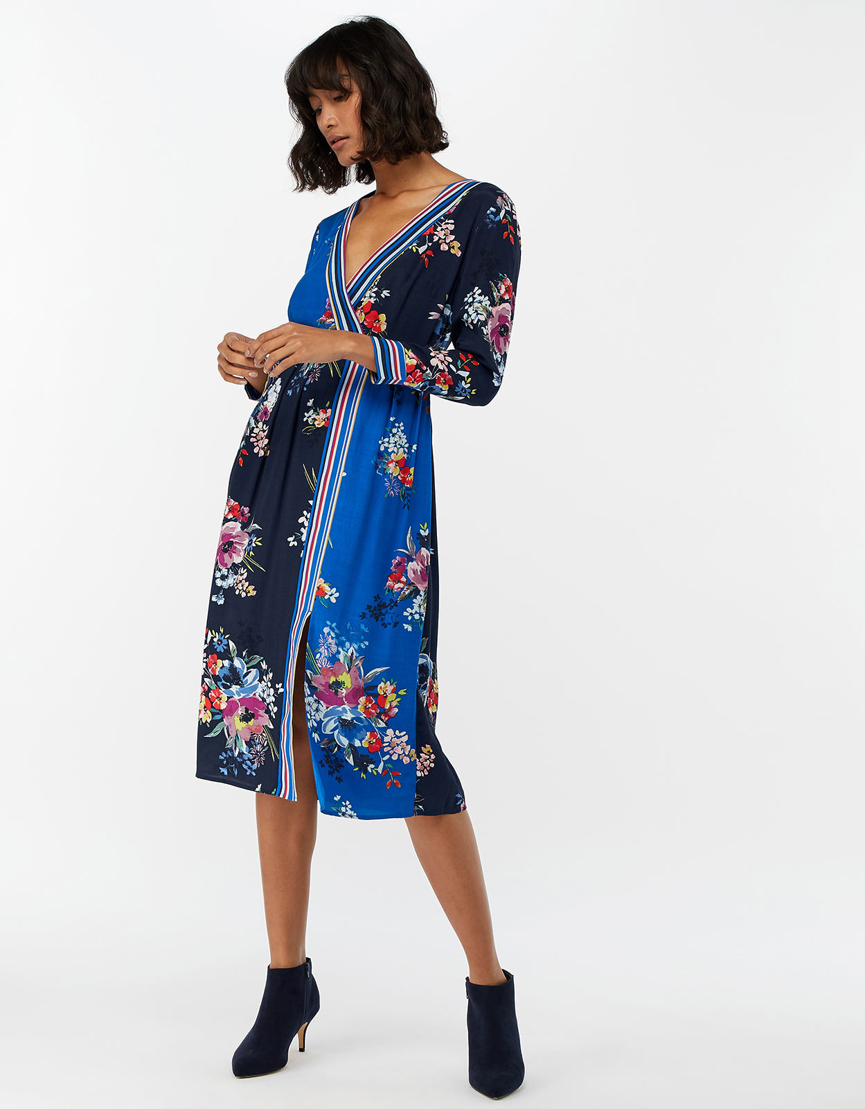 Monsoon Delilah Print Wrap Midi Dress
