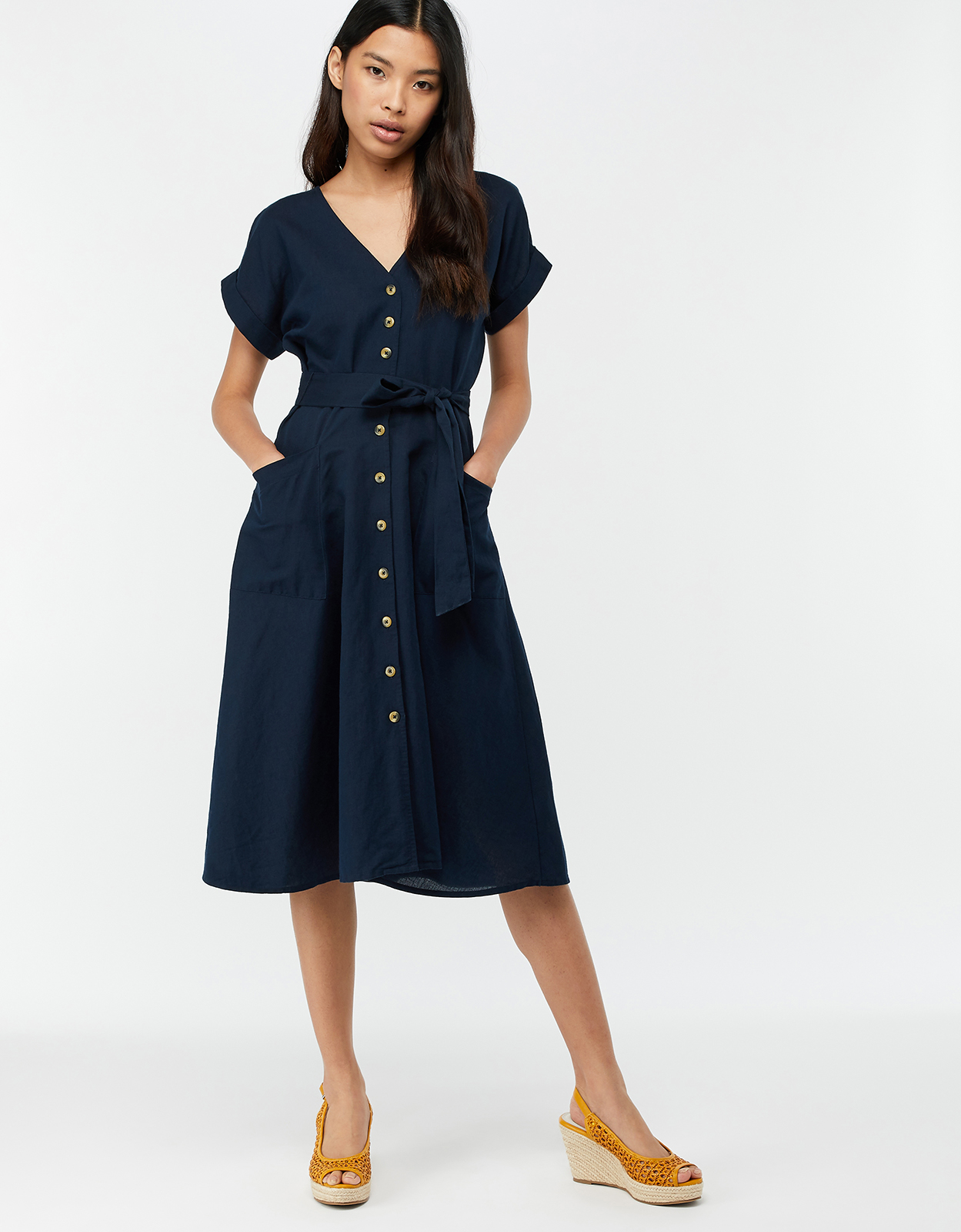 Monsoon Louise Linen Pocket Midi Dress