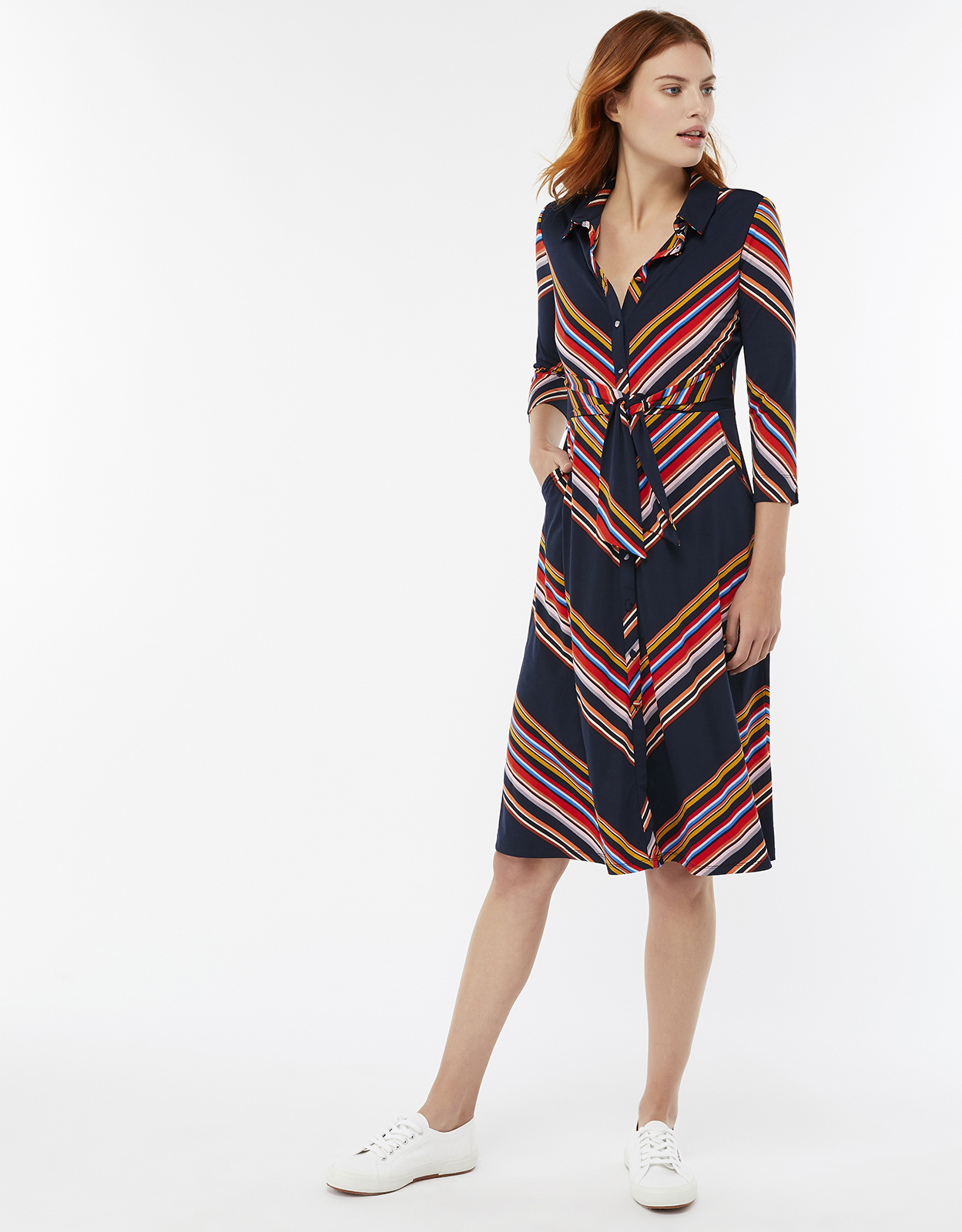 Monsoon Sylvia Stripe Shirt Dress