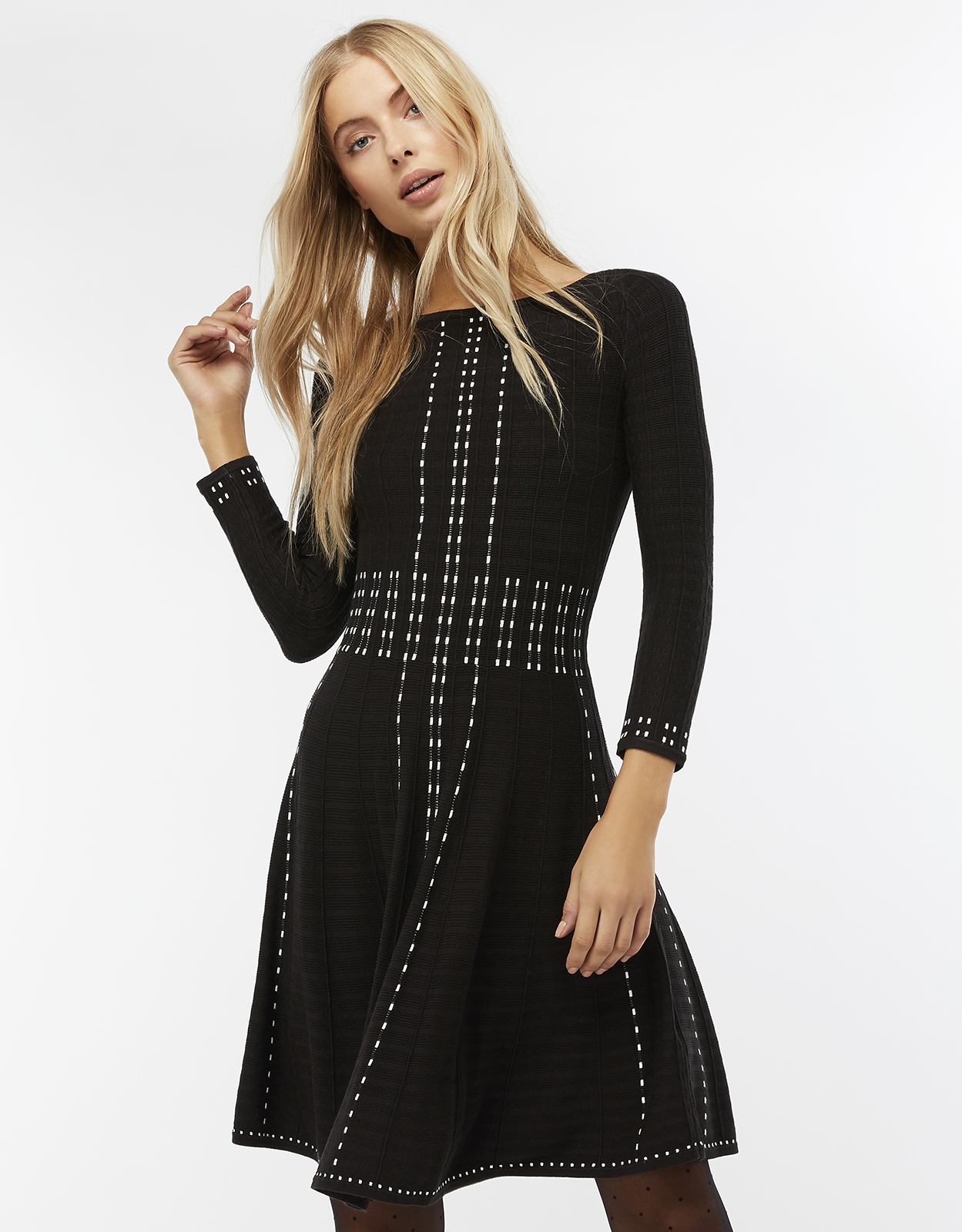 Monsoon Freja Placed Pattern Fit & Flare Knit Dress