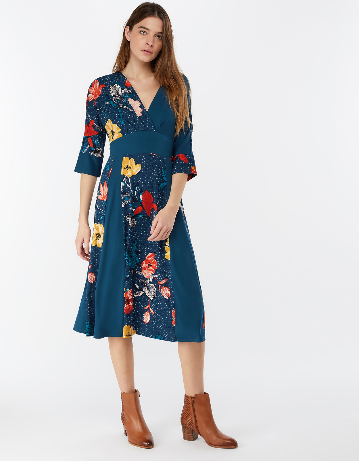 Monsoon Shona Floral Print Midi Dress