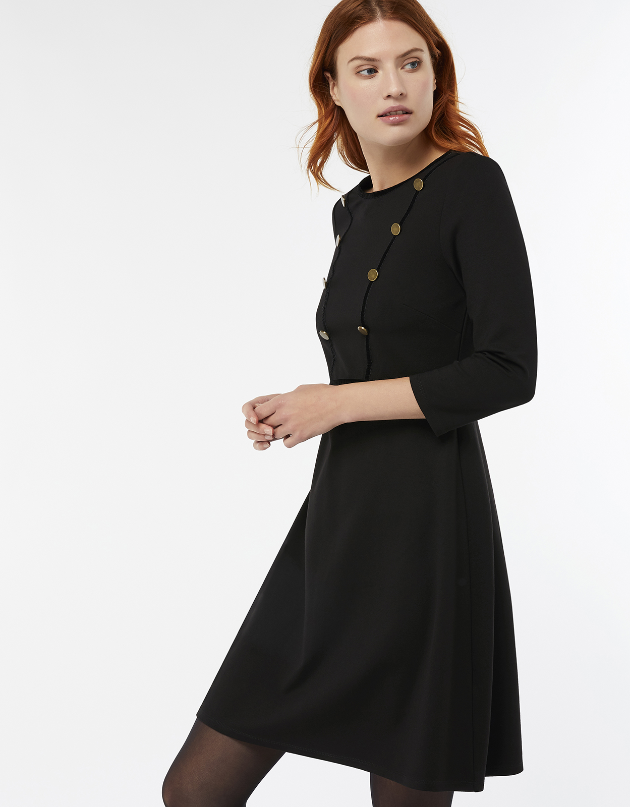 Monsoon Marie Button Short Ponte Dress