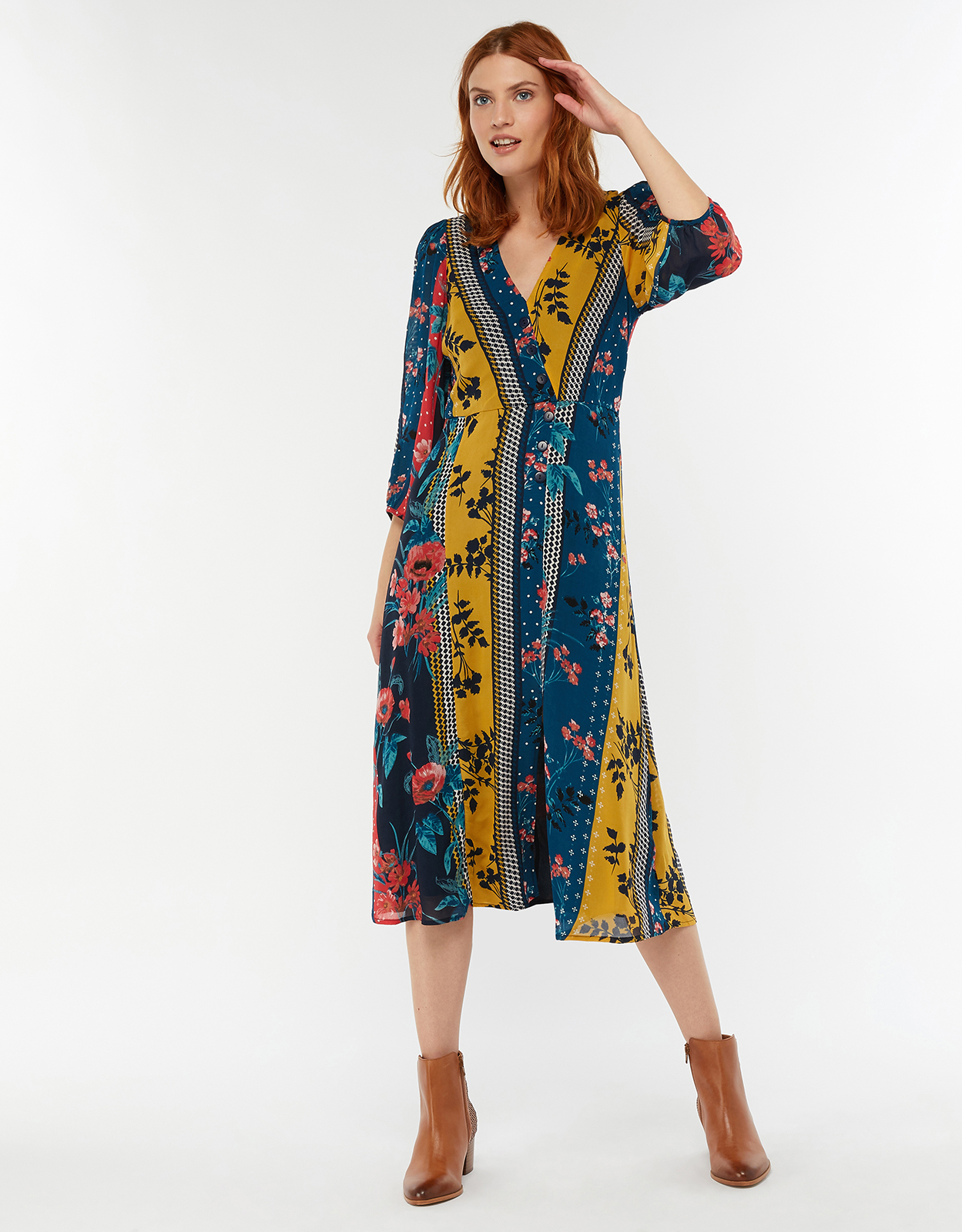 Monsoon Peggy Patch Print Midi Dress