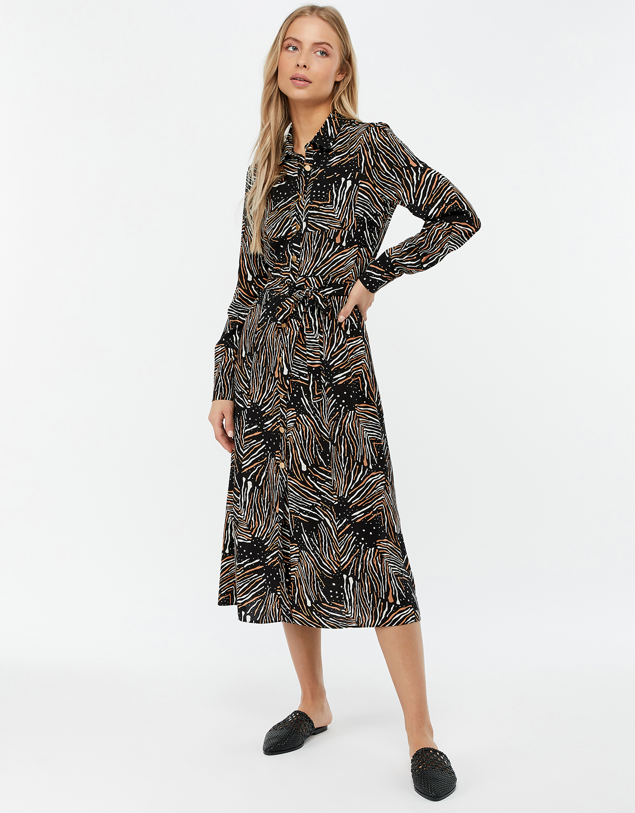 Monsoon Zia Zebra Print Midi Shirt Dress