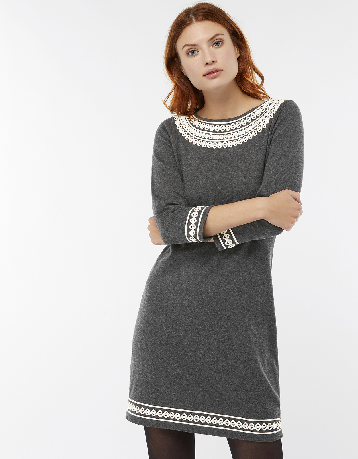 Monsoon Tiff Cornelli Cotton Jumper Dress