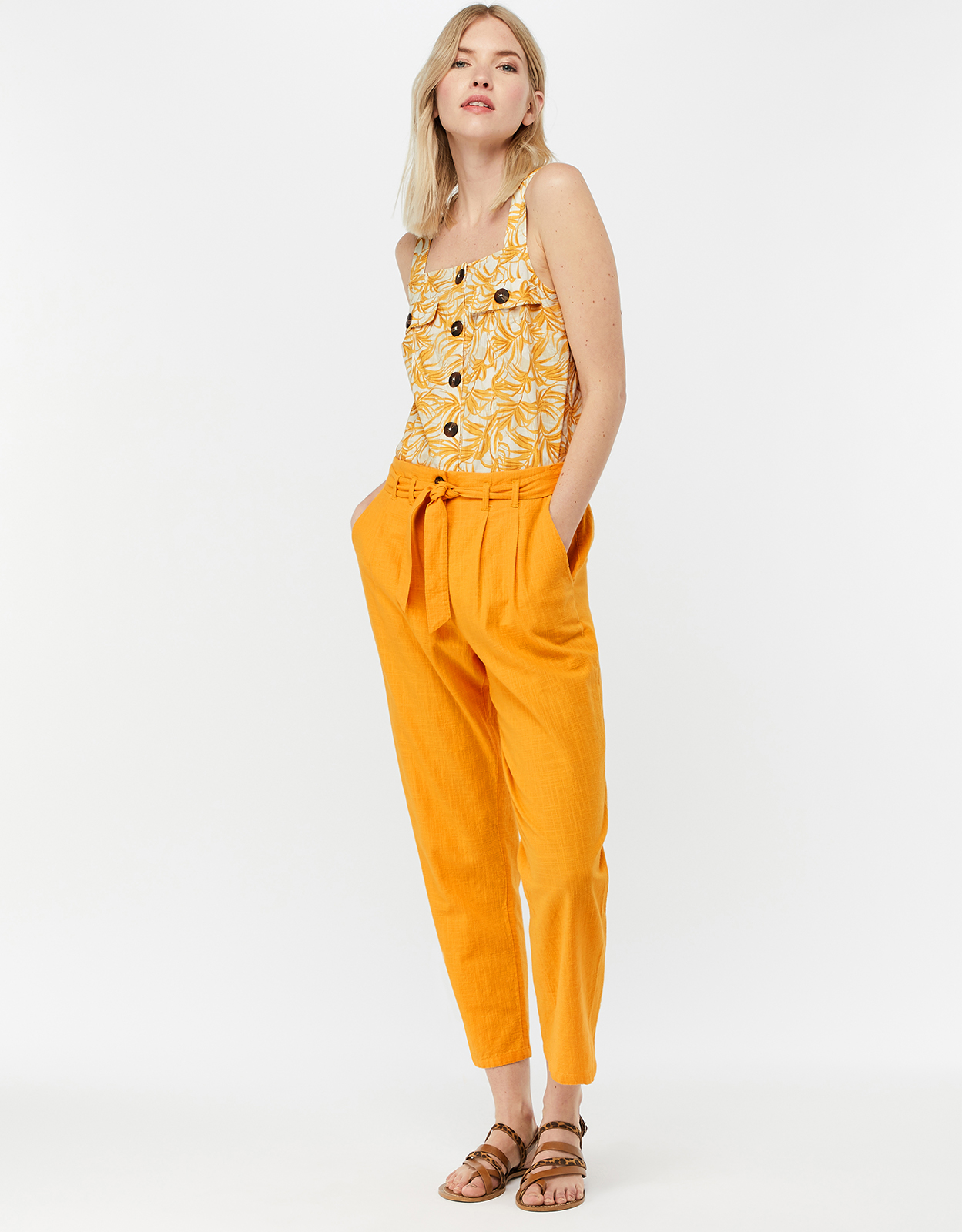 Monsoon Sadie Structured Cotton Peg Leg Trousers